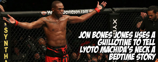 Jon Bones Jones uses a guillotine to tell Lyoto Machida's neck a bedtime story