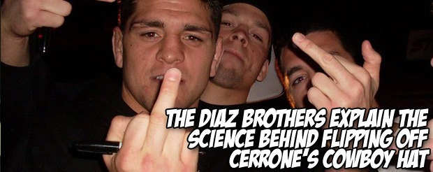 The Diaz brothers explain the science behind flipping off Cerrone's cowboy hat