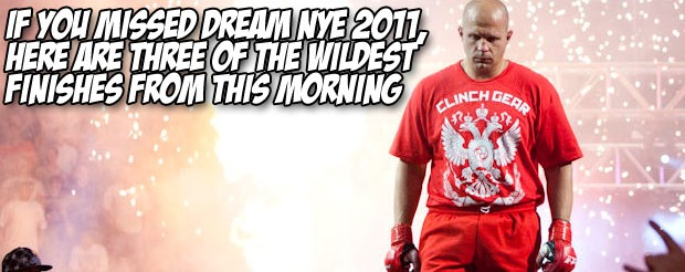 If you missed DREAM NYE 2011, here are three of the wildest finishes from this morning