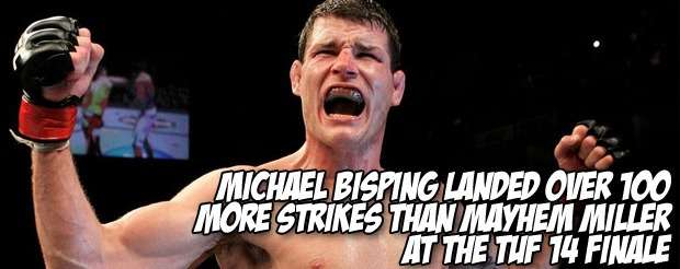 Michael Bisping landed over 100 more strikes than Mayhem Miller at the TUF 14 Finale