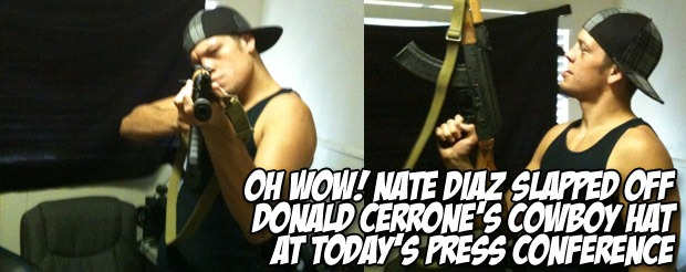 Oh wow! Nate Diaz slapped off Donald Cerrone's cowboy hat at today's press conference