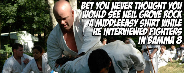 Bet you never thought you would see Neil Grove rock a MiddleEasy shirt while he interviewed fighters in BAMMA 8