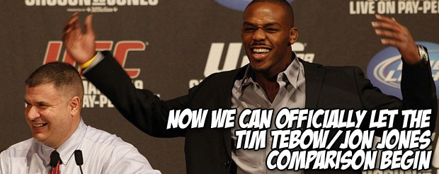 Now we can officially let the Tim Tebow/Jon Jones comparison begin