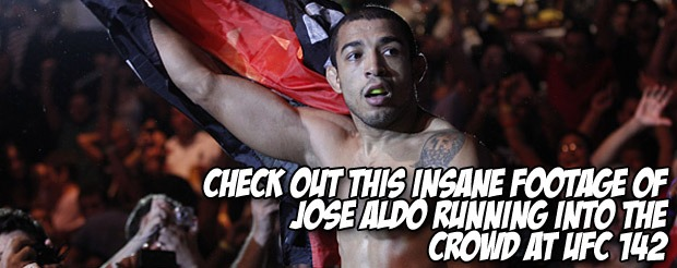 Check out this INSANE footage of Jose Aldo running into the crowd at UFC 142