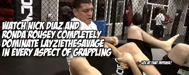 Watch Nick Diaz and Ronda Rousey completely dominate LayzieTheSavage in every aspect of grappling