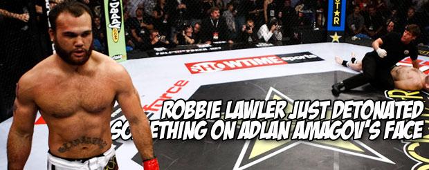 Robbie Lawler just detonated something on Adlan Amagov's face