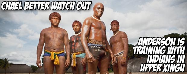 Chael better watch out – Anderson is training with Indians in Upper Xingu