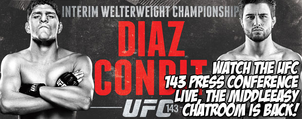 Watch the UFC 143 Press Conference LIVE, the MiddleEasy chatroom is BACK!