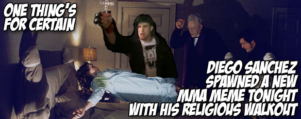 One thing's for certain, Diego Sanchez spawned a new MMA meme tonight with his religious walkout