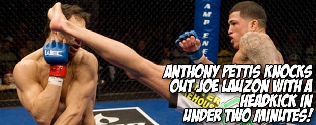 Anthony Pettis knocks out Joe Lauzon with a headkick in under two minutes!