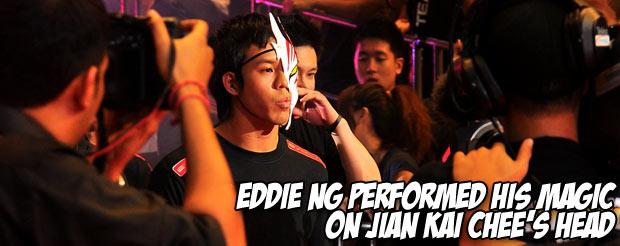 Eddie Ng performed his magic on Jian Kai Chee's head