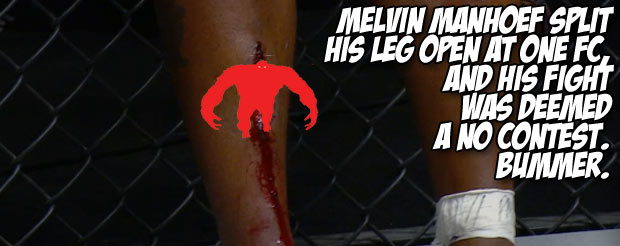 Melvin Manhoef split his leg open at ONE FC and his fight was deemed a no contest. Bummer.