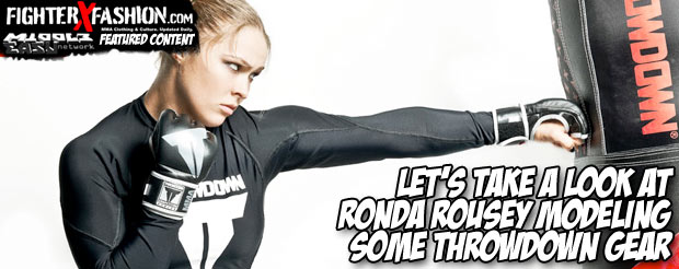 Let's take a look at Ronda Rousey modeling some Throwdown gear
