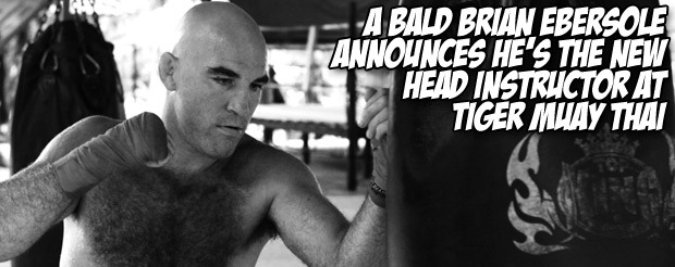 A bald Brian Ebersole announces he's the new head instructor at Tiger Muay Thai