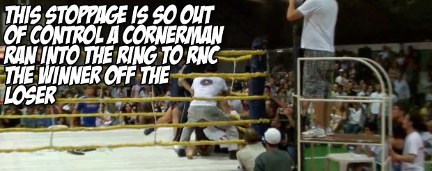 This stoppage is so out of control a cornerman ran into the ring to RNC the winner off the loser