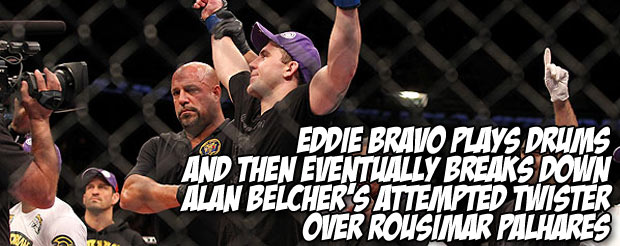 Eddie Bravo plays drums and then eventually breaks down Alan Belcher's attempted twister over Rousimar Palhares