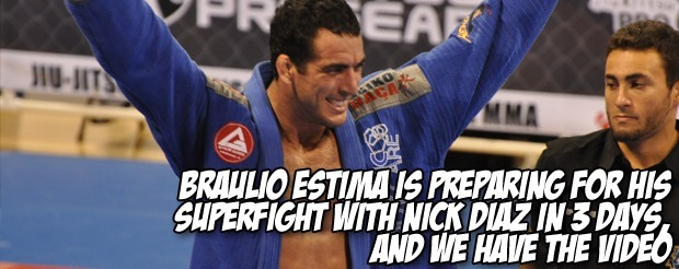 Braulio Estima says that he will not let Nick Diaz taunt him, and he'll submit him by triangle inside of 4 minutes