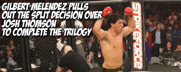 Gilbert Melendez pulls out the split decision over Josh Thomson to complete the trilogy