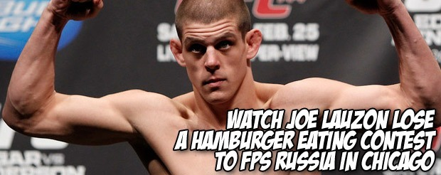 Watch Joe Lauzon lose a hamburger eating contest to FPS Russia in Chicago