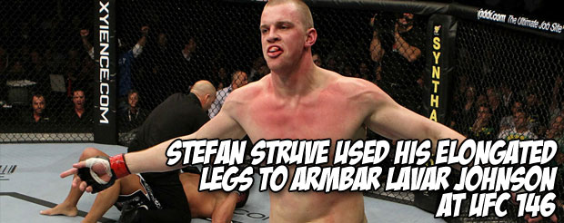 Stefan Struve used his elongated legs to armbar Lavar Johnson at UFC 146