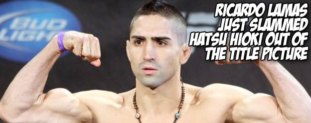 Ricardo Lamas just slammed Hatsu Hioki out of the title picture