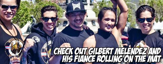 Check out Gilbert Melendez and his fiancé rolling on the mat