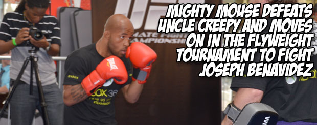 Mighty Mouse defeats Uncle Creepy and moves on in the flyweight tournament to fight Joseph Benavidez