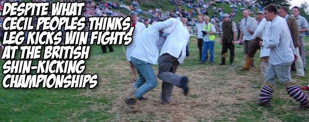 Despite what Cecil Peoples thinks, leg kicks win fights at the British Shin-Kicking Championships