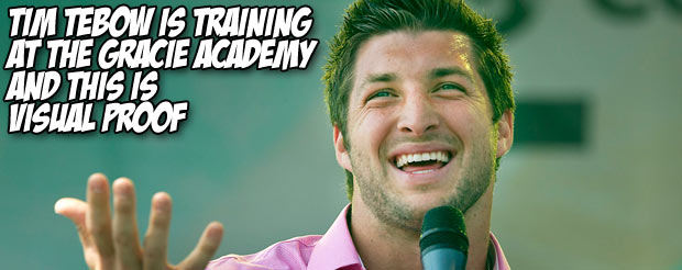 Tim Tebow is training at the Gracie Academy and this is visual proof