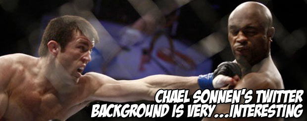 Chael Sonnen's Twitter background is very….Interesting