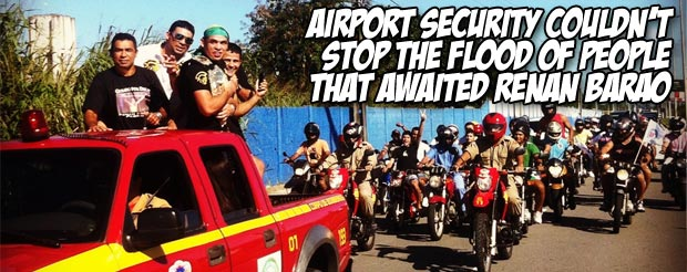 Airport security couldn't stop the flood of people that awaited Renan Barao