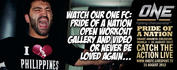 Watch our ONE FC: Pride of a Nation open workout gallery and video or never be loved again…