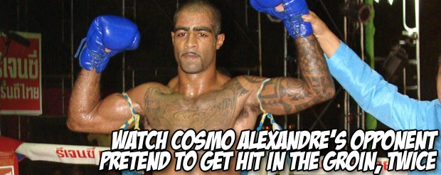 Watch Cosmo Alexandre's opponent pretend to get hit in the groin, twice
