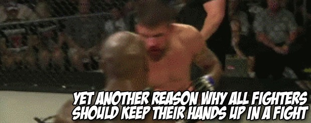 Yet another reason why ALL fighters should keep their hands up in a fight