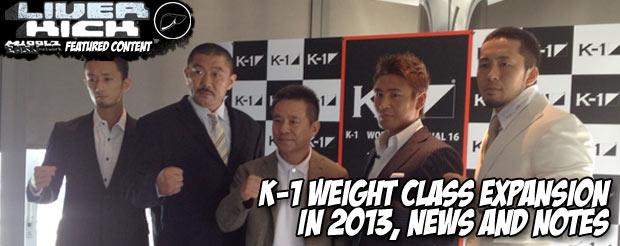K-1 weight class expansion in 2013, news and notes