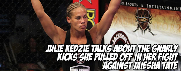 Julie Kedzie talks about the gnarly kicks she pulled off in her fight against Miesha Tate