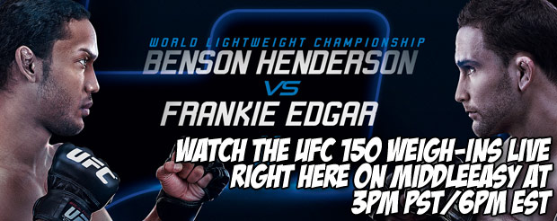 Watch the UFC 150 weigh-ins LIVE right here on MiddleEasy at 3pm PST/6pm EST
