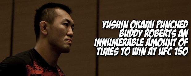 Yushin Okami punched Buddy Roberts an innumerable amount of times to win at UFC 150