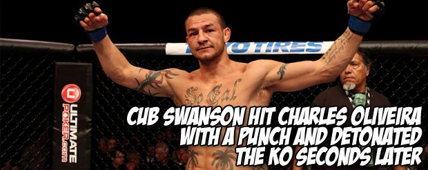 Cub Swanson hit Charles Oliveira with a punch and detonated the KO seconds later
