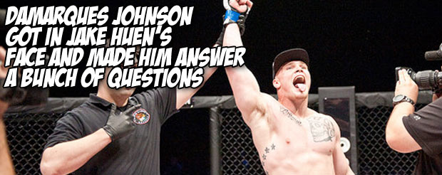 DaMarques Johnson got in Jake Huen's face and made him answer a bunch of questions