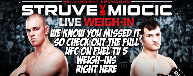 We know you missed it, so check out the full UFC on Fuel TV 5 weigh-ins right here…