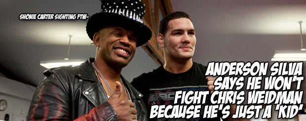 Anderson Silva says he won't fight Chris Weidman because he's just a 'kid'
