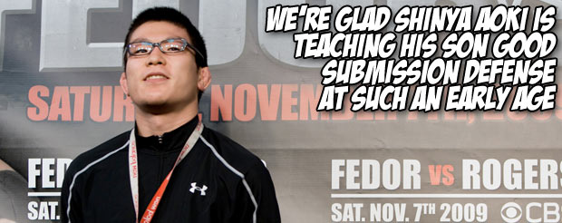 We're glad Shinya Aoki is teaching his son good submission defense at such an early age