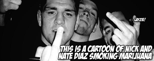 This is a cartoon of Nick and Nate Diaz smoking marijuana