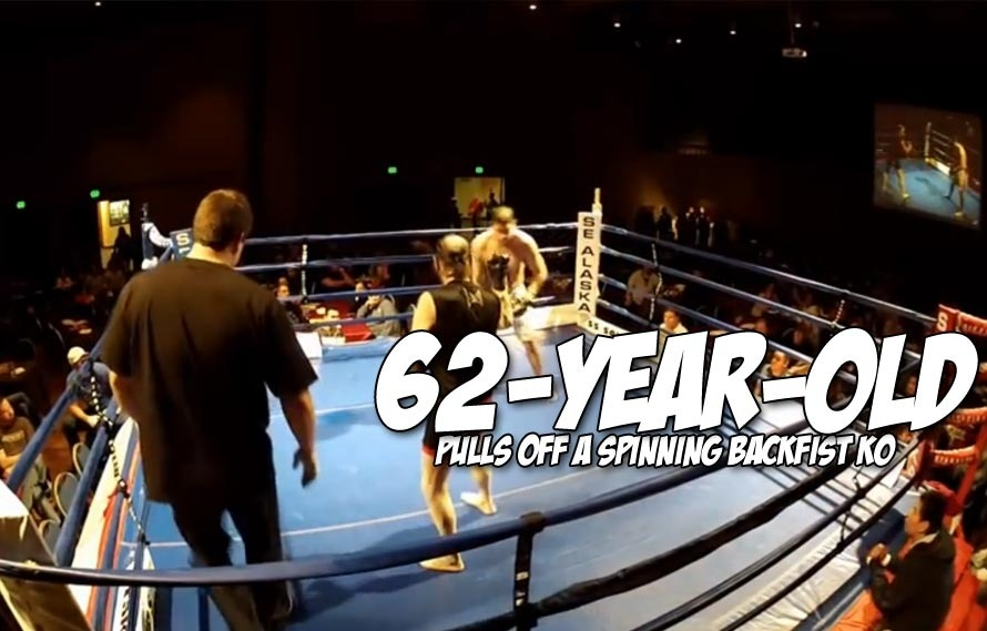 A 62-year-old fighter KOd his opponent with a spinning backfist, here's the video