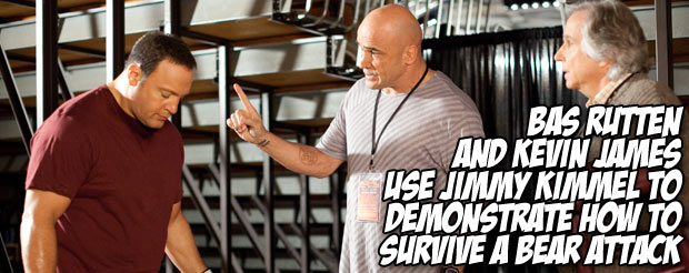 Watch Kevin James and Bas Rutten use Jimmy Kimmel to demonstrate how to survive a bear attack