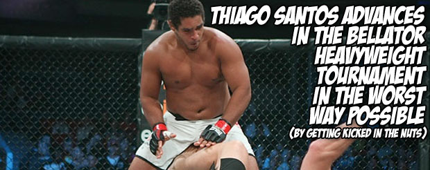 Thiago Santos advances in the Bellator heavyweight tournament in the worst way possible