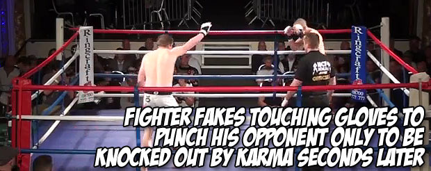 Fighter fakes touching gloves to punch his opponent only to be knocked out by karma seconds later