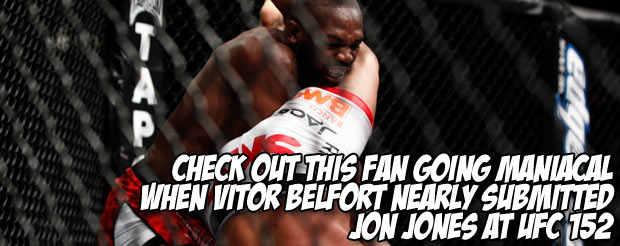 Check out this fan going maniacal when Vitor Belfort nearly submitted Jon Jones at UFC 152
