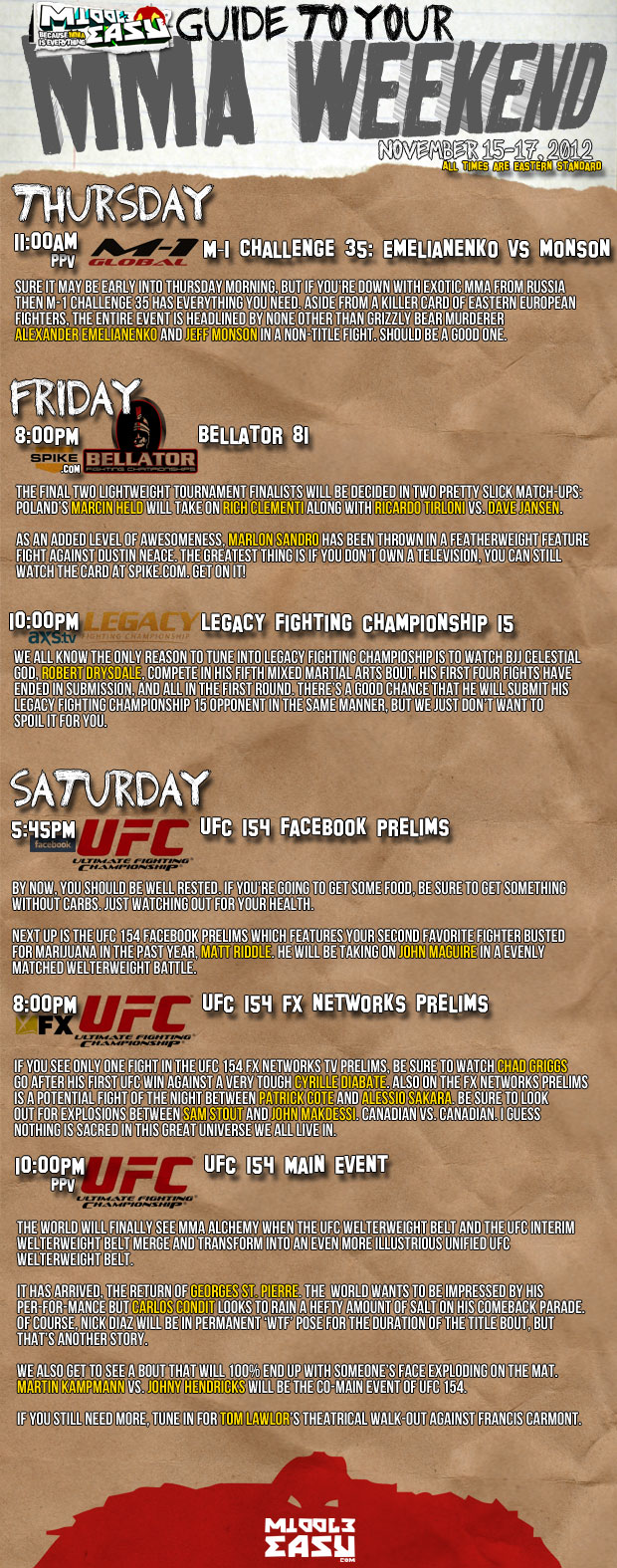 MiddleEasy's Guide to your MMA Weekend - November 15-17th 2012